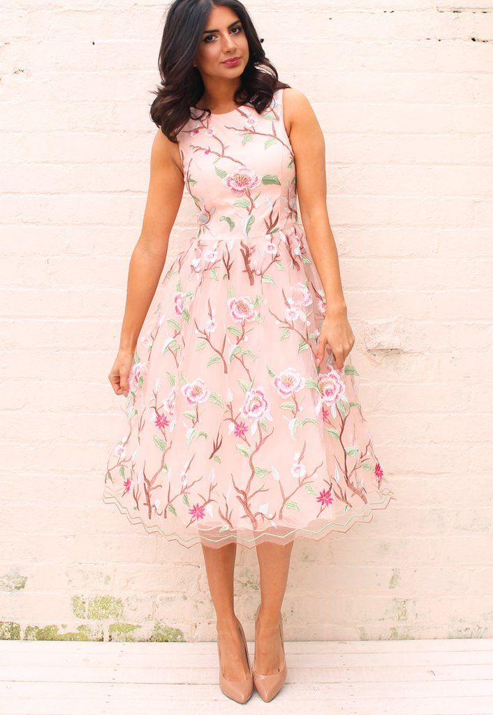 Chi Chi London Neema Floral Embroidered Full Skirt Midi Dress in ...