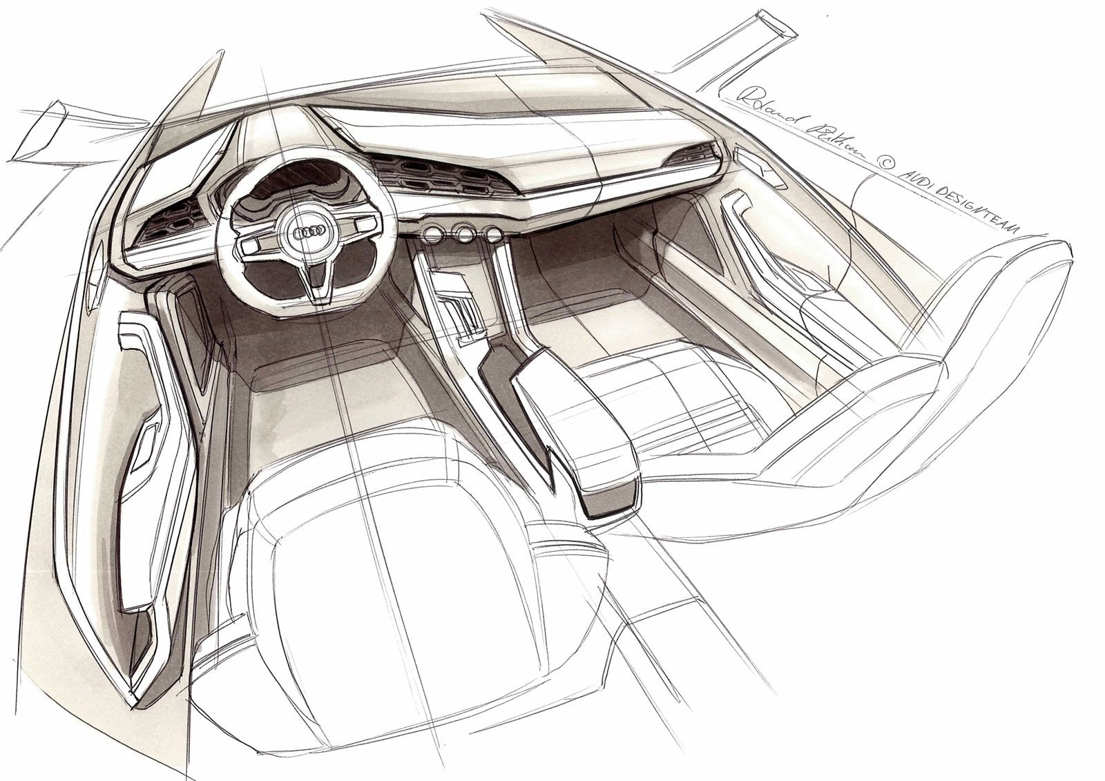 Audi crosslane coupe concept interior design sketch for Interior designs sketches