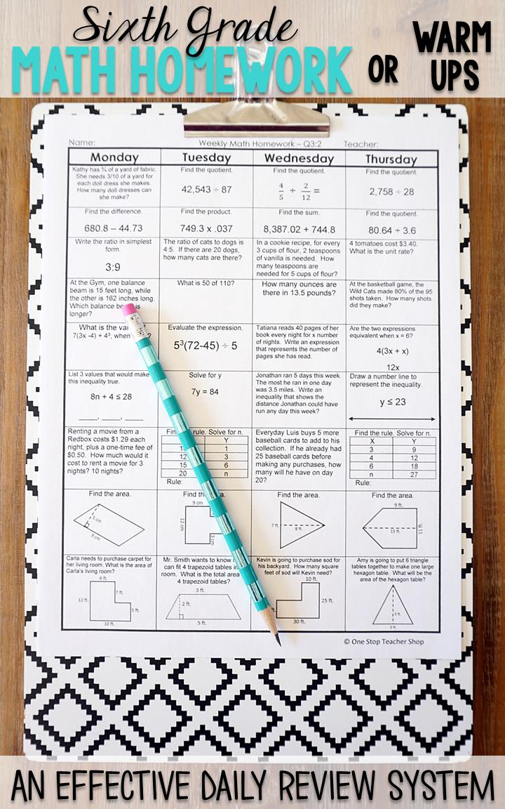 Sixth Grade Math Homework Or Warm Ups That Provide A Daily Review For 6th Grade Math Standards This Sixth Grade Spi Sixth Grade Math Math Homework Spiral Math [ 1152 x 720 Pixel ]