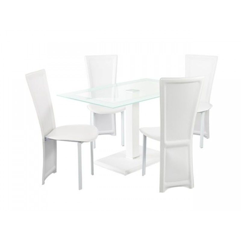 Modern Glass Dining Table And Four White Leather Chairs