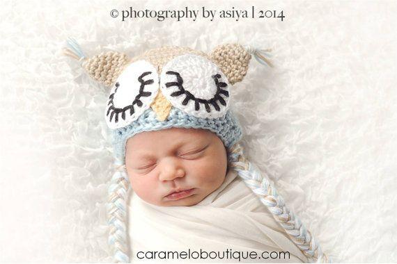 Sleepy Newborn Baby Boy Owl Hat Photo Prop-Crochet Baby Boy Owl Hat-Blue  Baby Boy Owl Hat-Newborn Hat-Infant Hat-Newborn Photography Prop fcdff99e4c6f