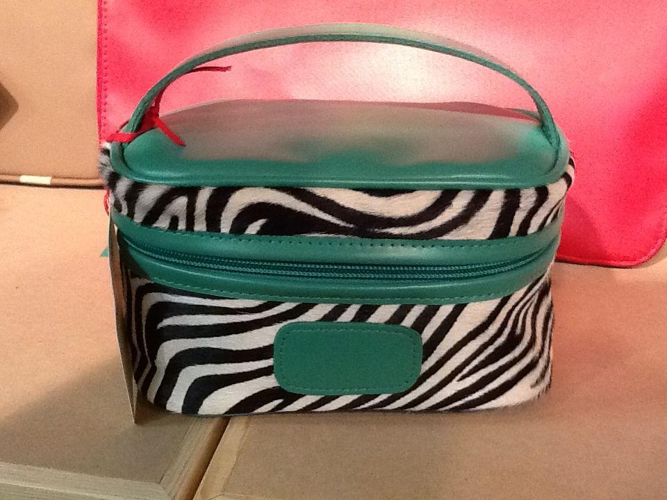 Mini makeup case Zebra with shamrock leather!! Mini