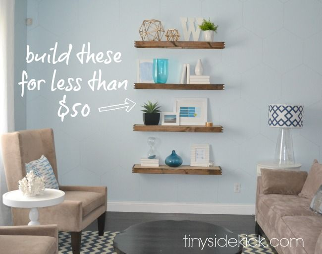 DIY Rustic Modern Floating Shelves {tutorial} Build these floating shelves for less than $50.