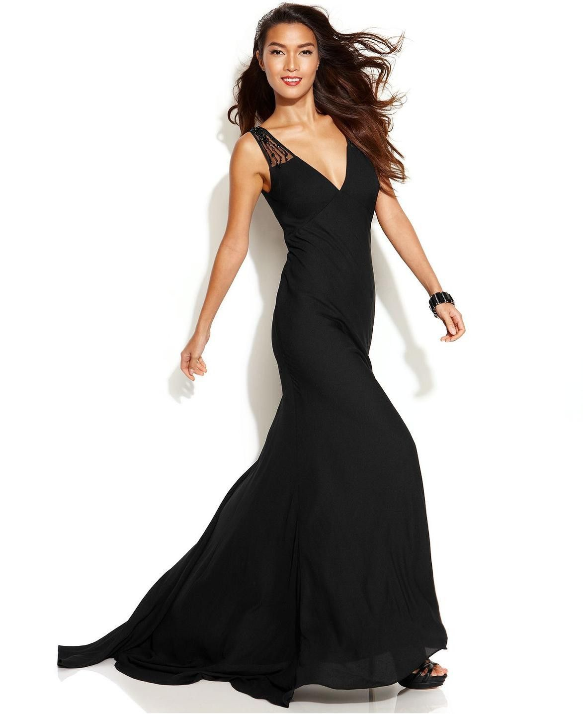 Js collections sleeveless illusion beaded gown pinterest