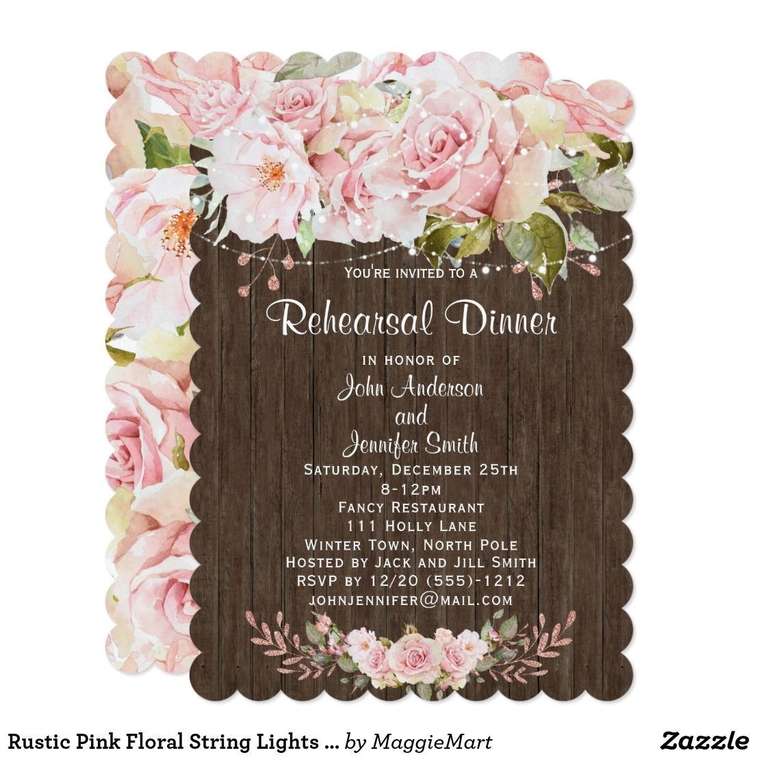 Rustic Pink Floral String Lights Rehearsal Dinner Invitation | Zazzle.com