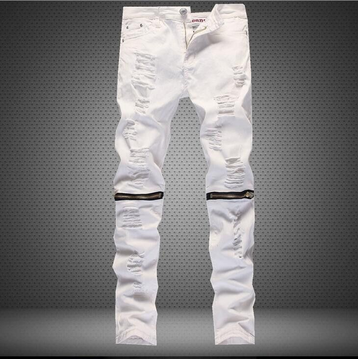 97e3f611078 Denim Slim Jeans White Red Black Ripped Men's fashion Slim | fashion ...