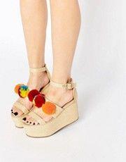 ASOS TOGETHER Pom Pom Wedge Sandals