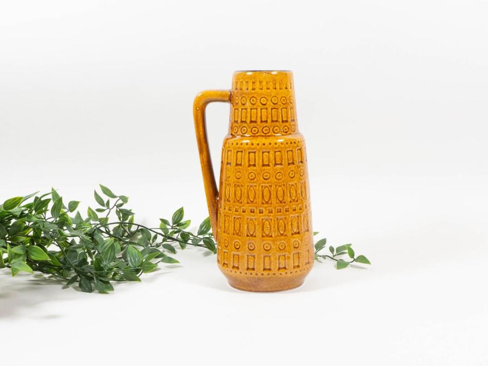 Vintage Scheurich Inka vase, mustard yellow.