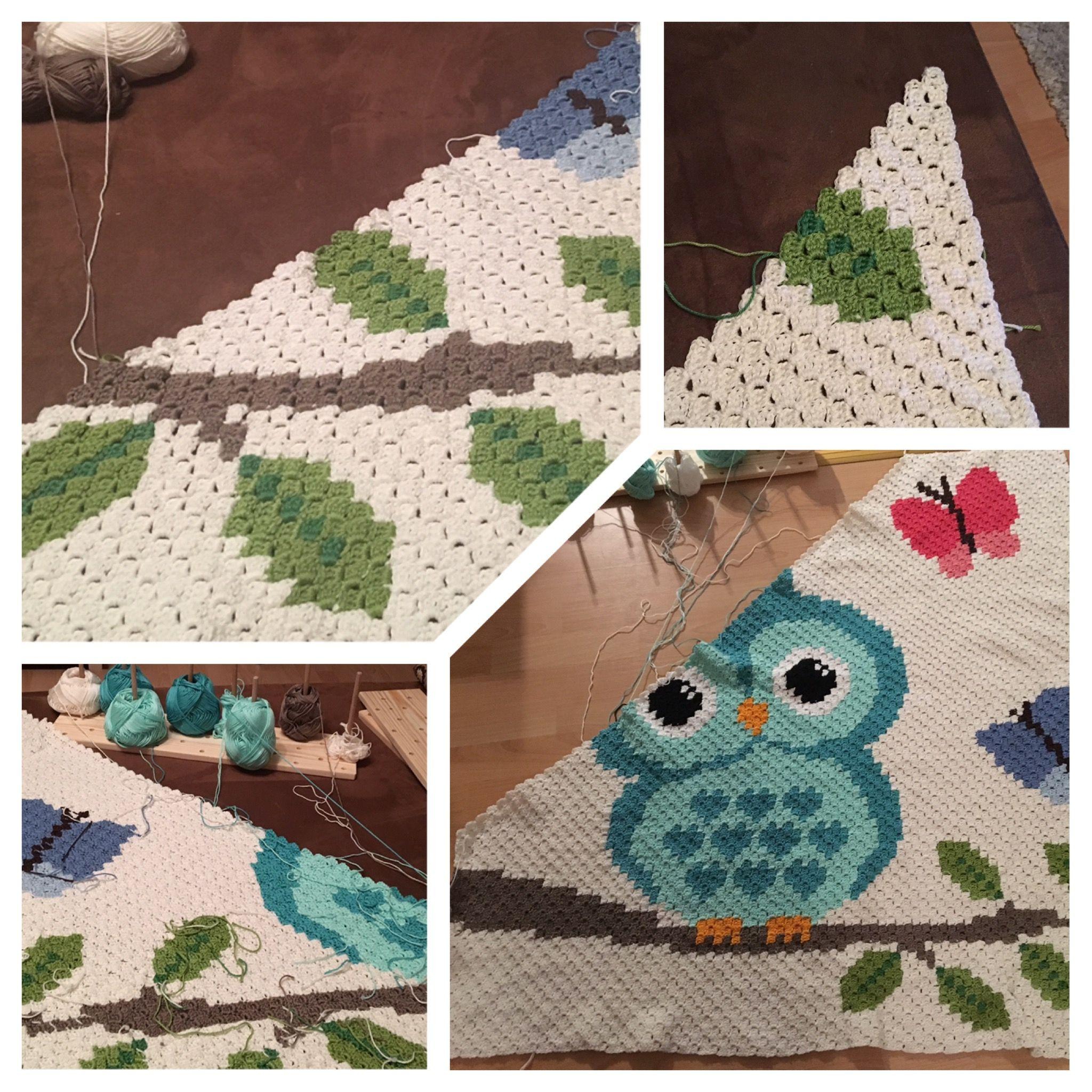 Crochet owl baby blanket growing step by step yarn