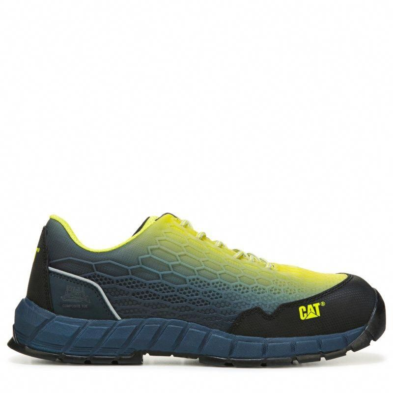 6a151c6671e3 Caterpillar Men s Expedient Medium Wide Composite Toe Work Sneakers (Lime  Blue)  widemenssneakers