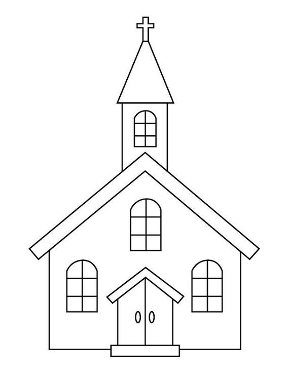 Church Coloring Page Etsy In 2021 Church Images Church Church Pictures