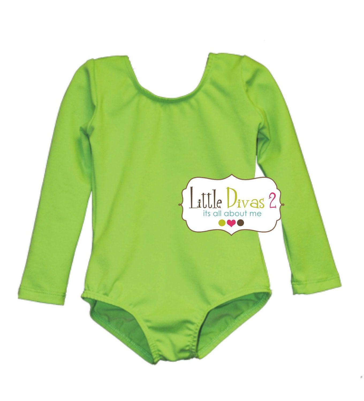 9b7391b307de Lime Green Leotard (Child) Long Sleeve Leotard