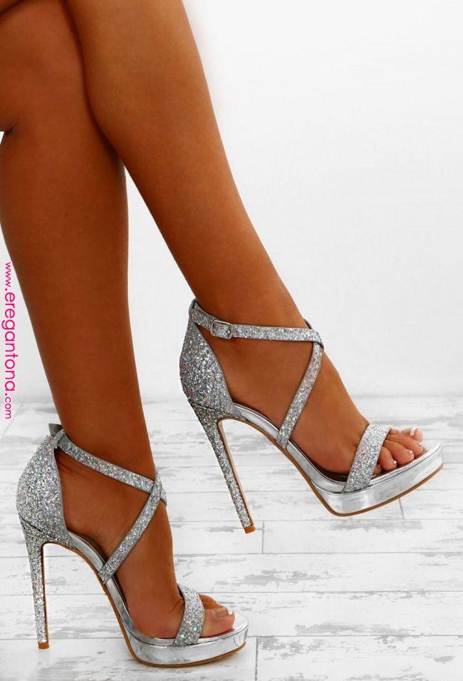 Party Queen Silver Glitter Platform