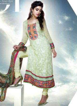 Cream Pure Chiffon Churidar Suits