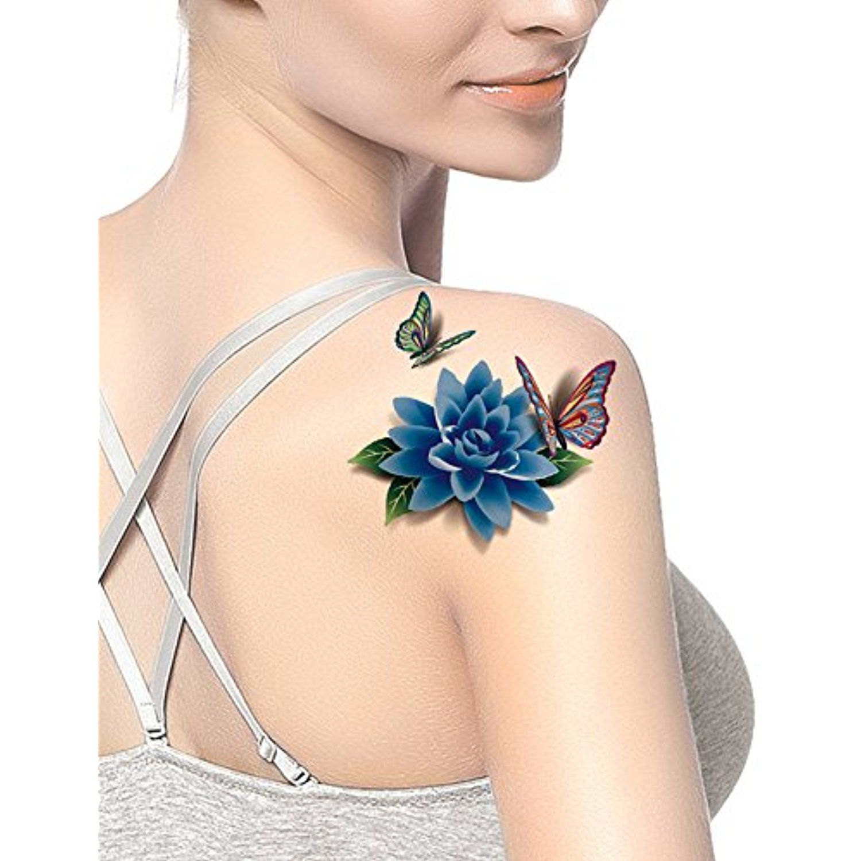 Lower back tattoo ideas for men tafly womenus blue flower d peony butterfly lower back temporary
