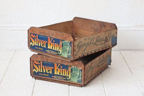 PAIR Silver King Grapes Fruit Crate Wood Box