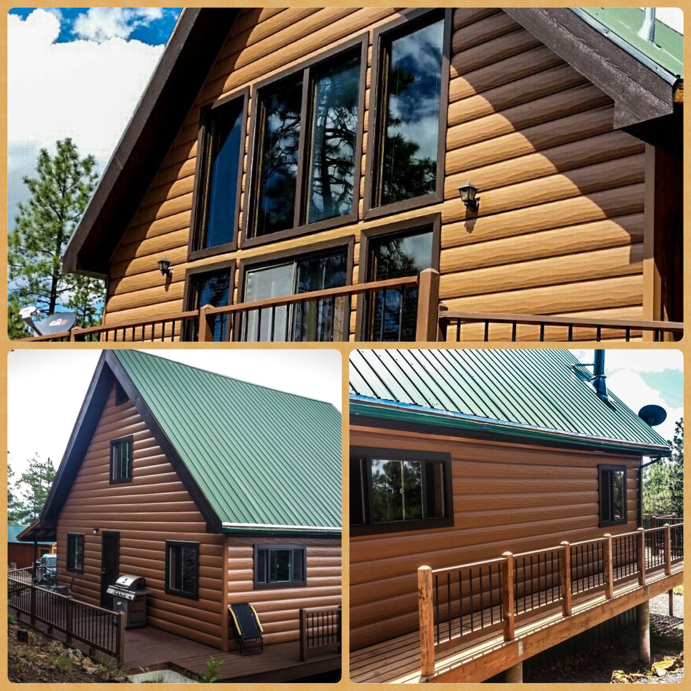Perfect View Of The Cedar Log Siding Steel Log Siding Is Maintenance Free So You Can Enjoy Your Log Cabin Log Cabin Siding Log Siding Cabin