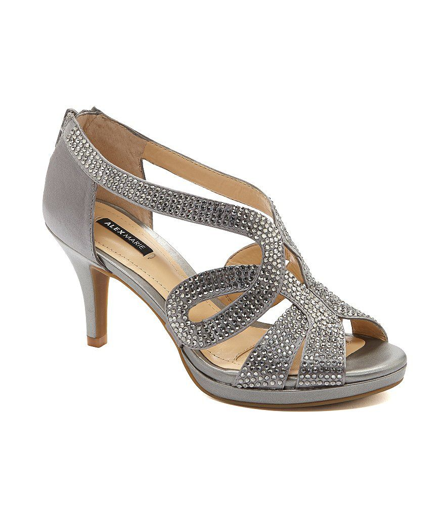 Alex Marie Dayten Rhinestone Embellished Satin Dress Sandals | Dillards