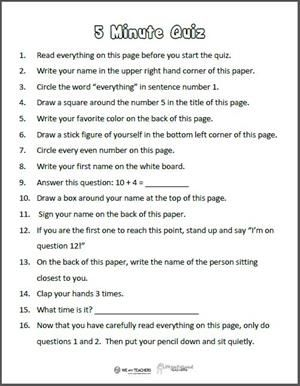 Free Printable: 5-Minute Directions Quiz | In the Classroom ...