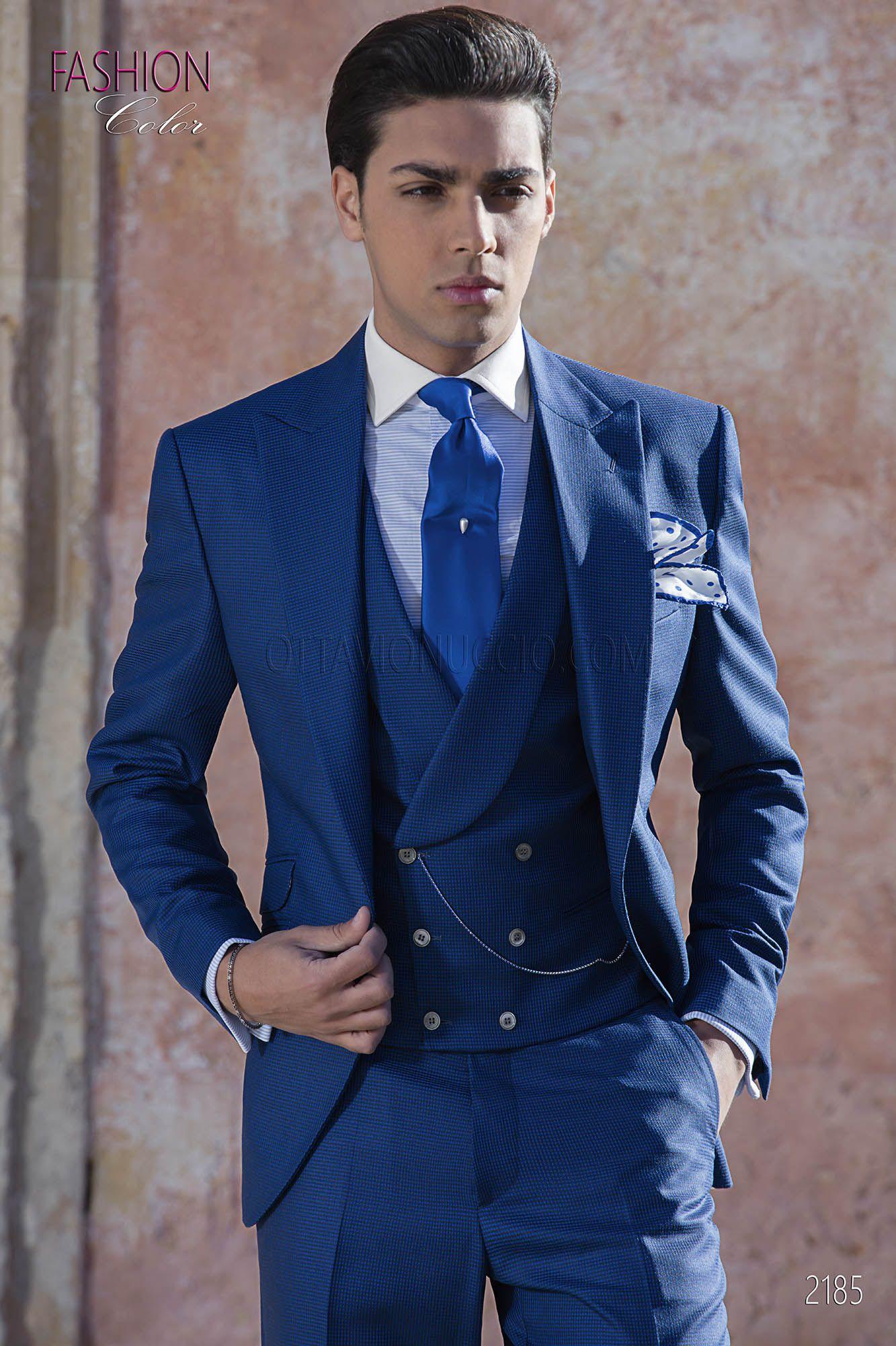 Costume 3 pièces pied de poule bleu noir pour homme. Costume ONGala 2185 9aaa9652978