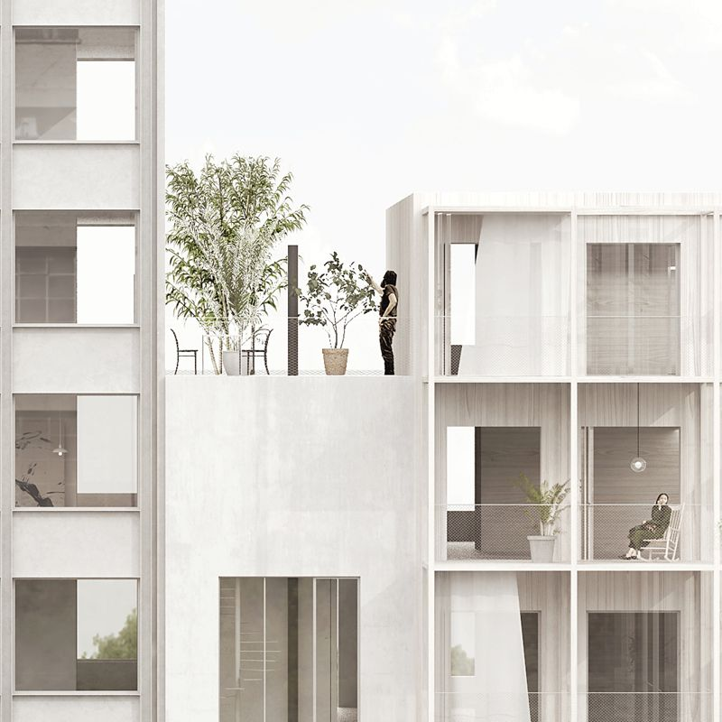 arrhov frick mixed use housing stockholm rep perspective realistic pinterest fassaden. Black Bedroom Furniture Sets. Home Design Ideas