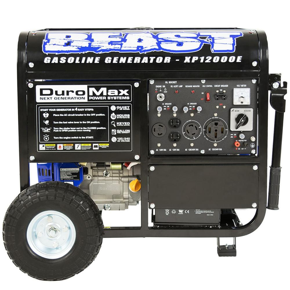 Duromax 12 000 Watt 9 500 Watt Electric Start Gasoline Powered Portable Generator Home Backup And Rv Ready 50 States Approved Xp12000e The Home Depot Electric Start Generator Portable Generator Diy Generator