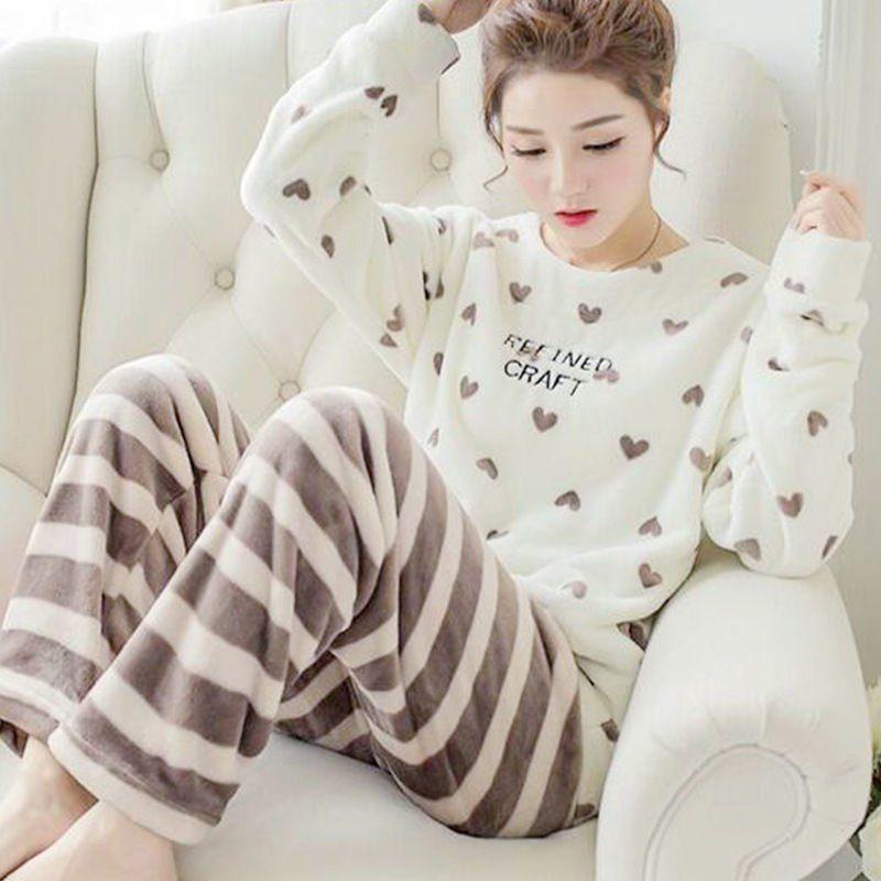 Goedkope Winter Vrouwen Dikke Pyjama Sets Flanel Lange Mouwen Warm