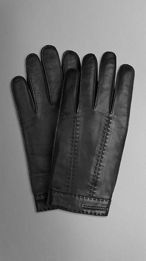 615b8466daca HAND  Burberry Mens Cashmere-lined Leather Touch-Screen Gloves in Black.  Embedded with micro-conductors for use with iPhones and other touch screen  ...