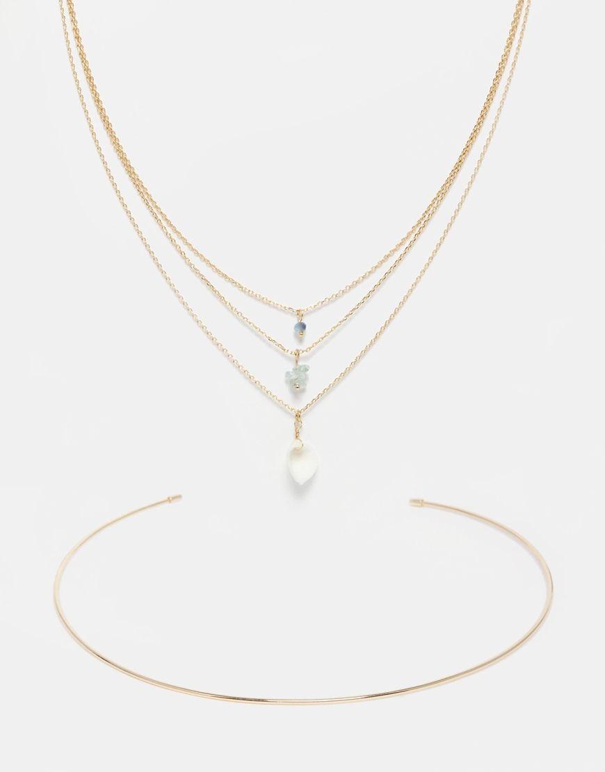 Orelia Multirow Torque Necklace
