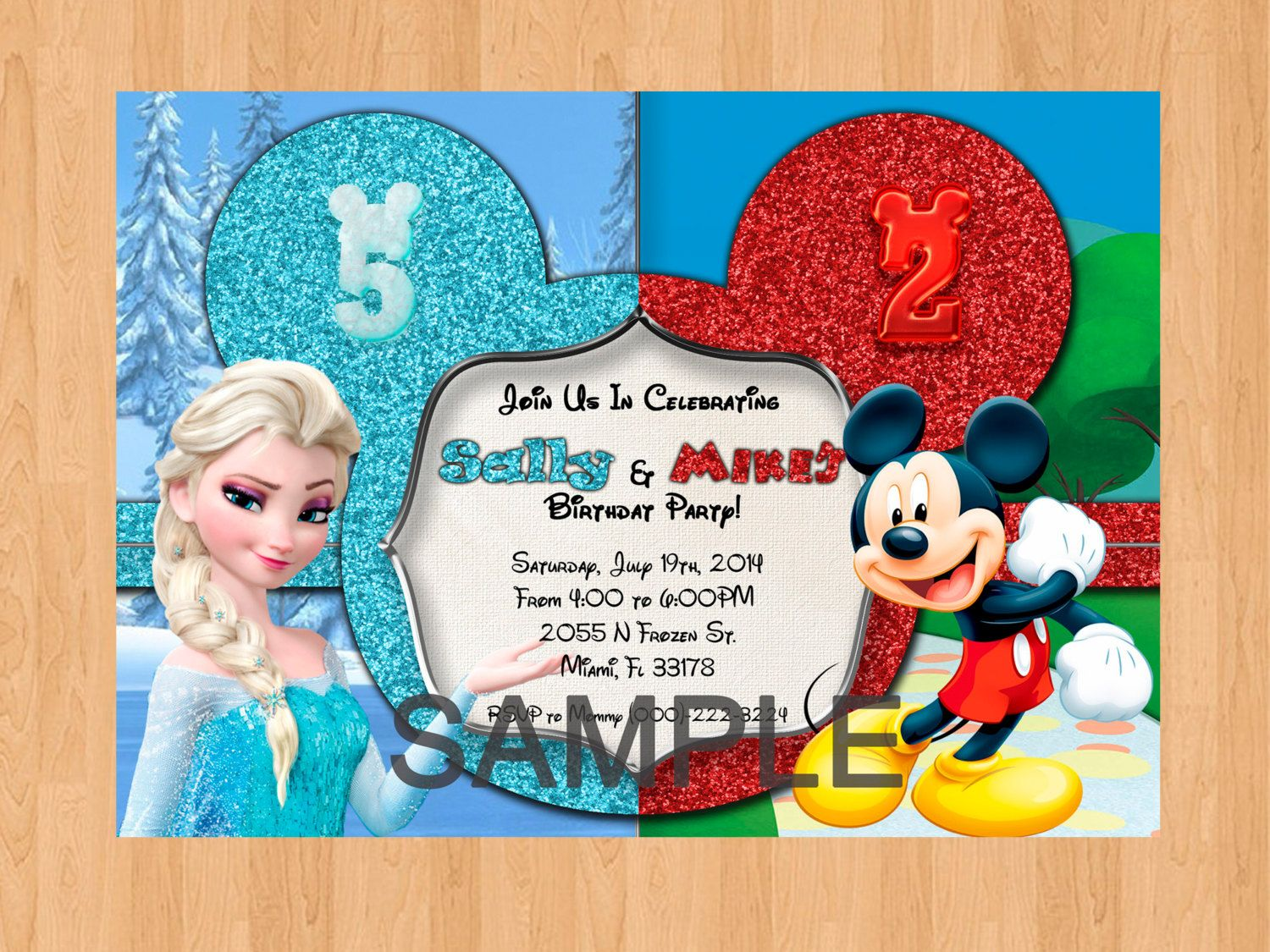 Disney Frozen and Mickey Mouse Invitation Boy Girl by IWannaParty ...