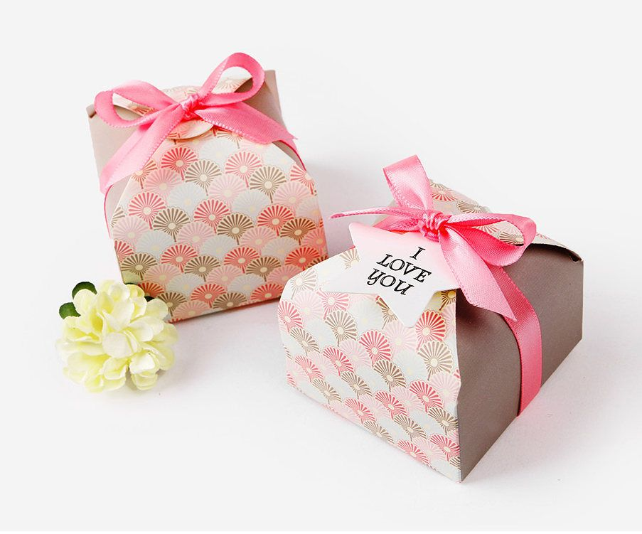 6 Fan Pattern Mini Boxes Small Gift Boxes Jewelry Boxes