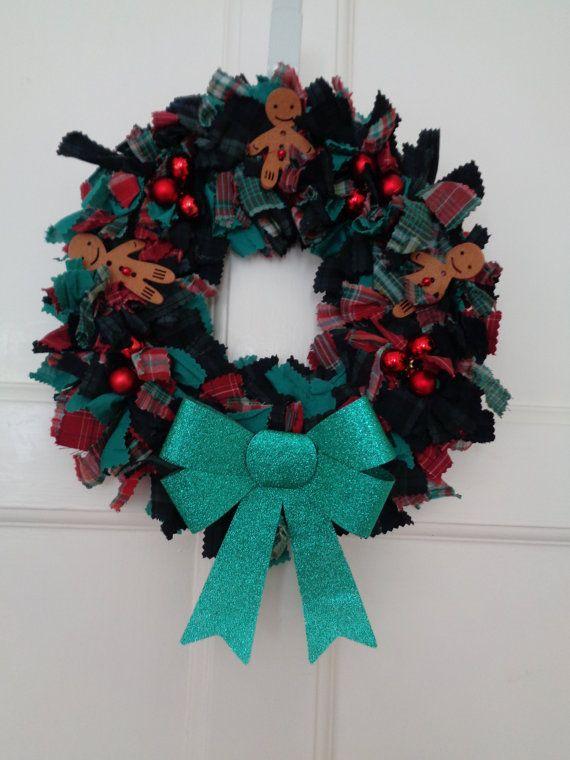 Gingerbread Man Tartan Christmas Rag Wreath by fairydustandglitter ...