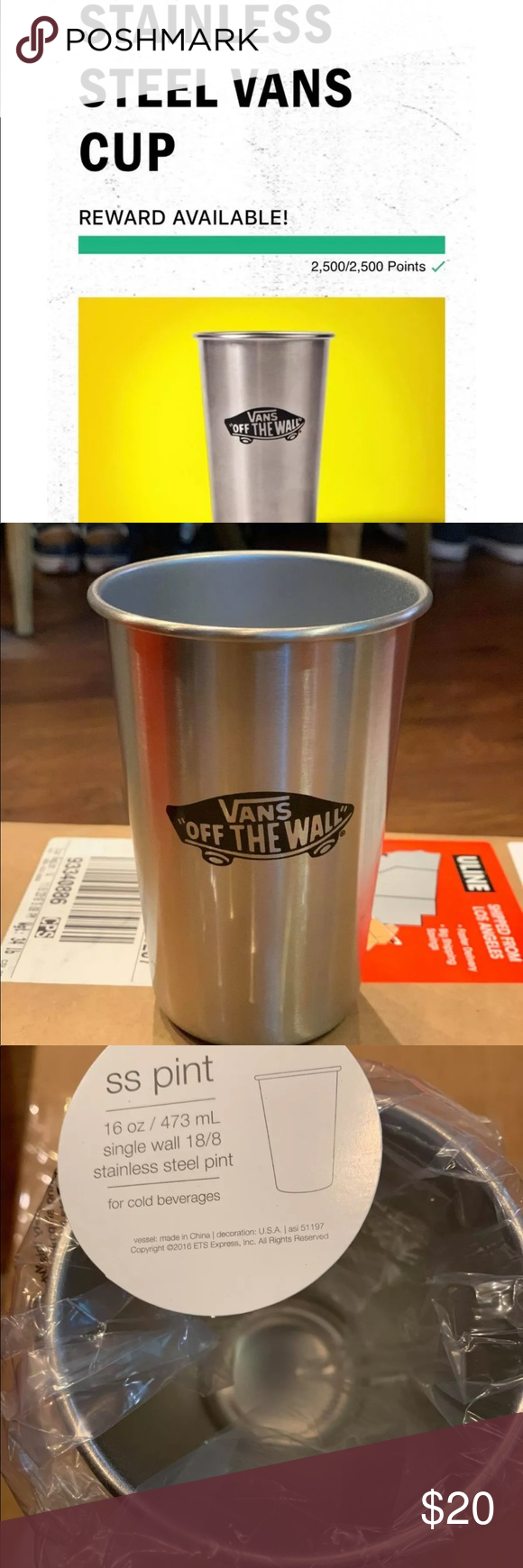 ac33f9d17 Vans Family Stainless Steel Cup 16oz NEW VANS STAINLESS STEEL CUP ONLY  AVAILABLE TO VANS FAMILY MEMBERS FOR 2500 POINT! Vans Accessories