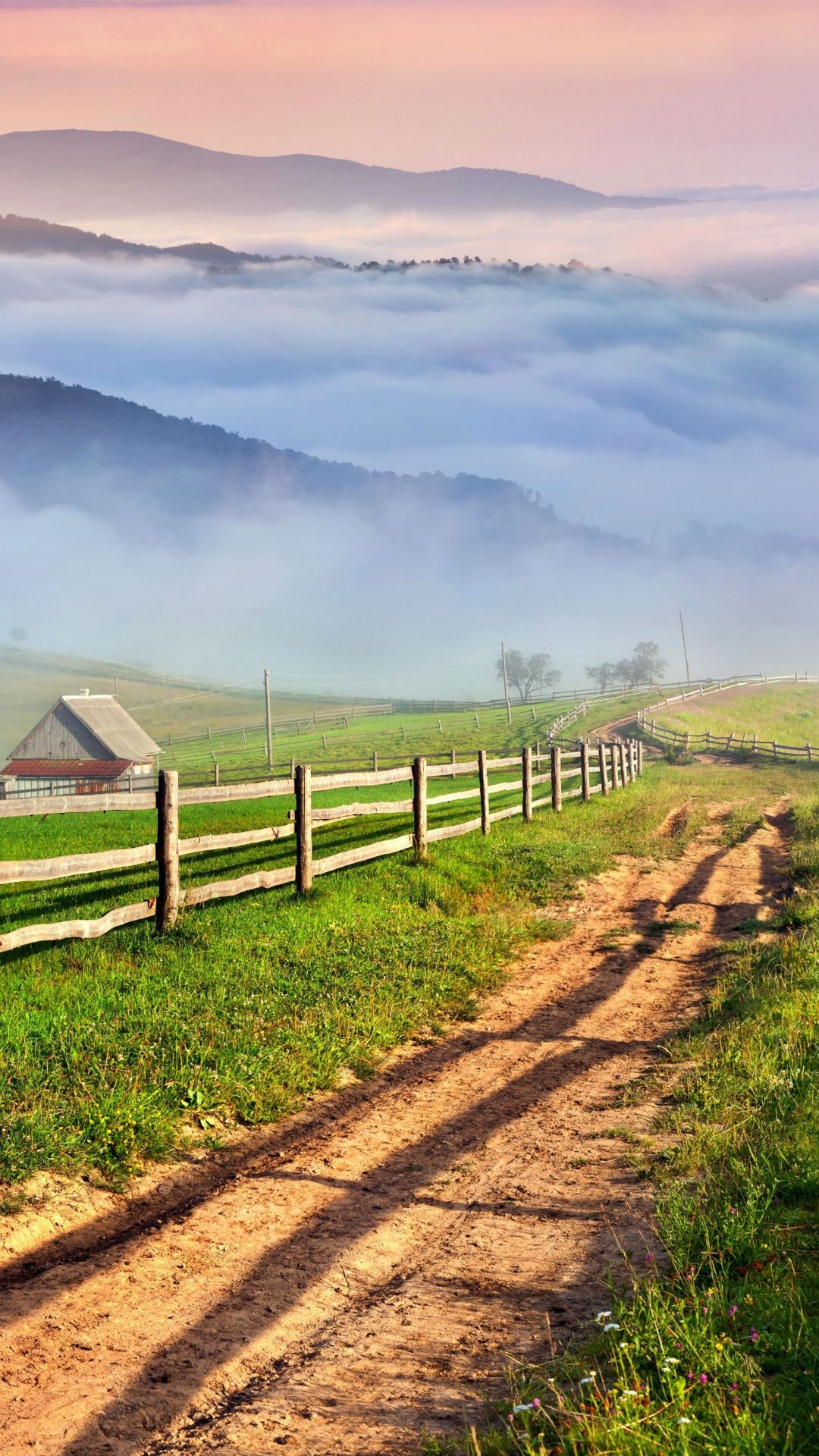 Fog, mist, dirt, road, pathway, fence, landscape, nature