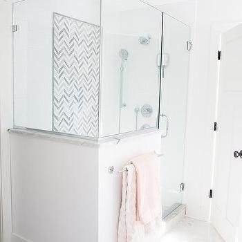 large gray marble herringbone shower tiles | mosaic wall