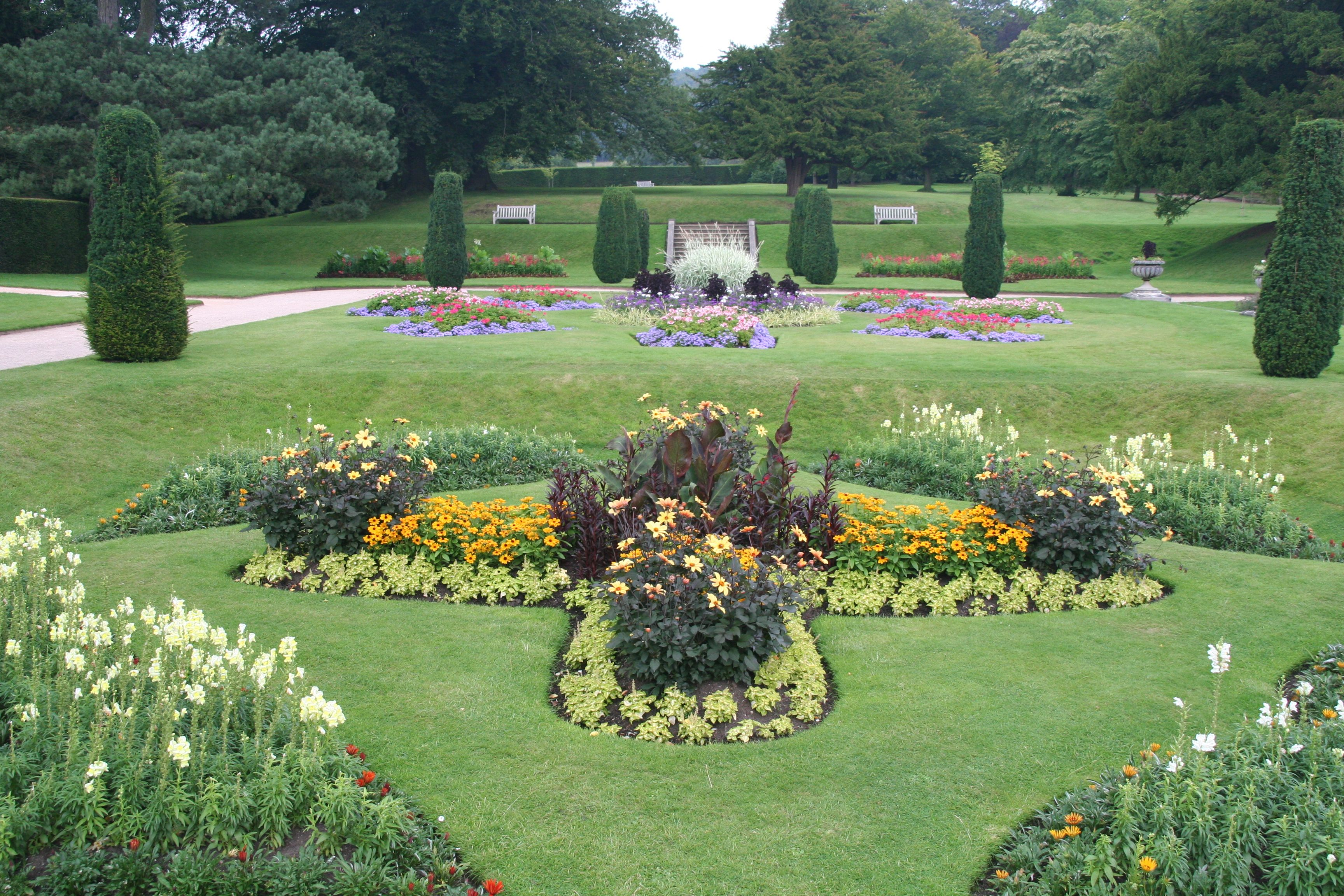 Lymme Park (& House), a section of the formal garden ...