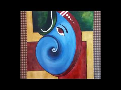 Draw Step By Step Great Ganesha Abstract Art Poster Colour Painting Youtube Ganesha Painting Abstract Art Poster Simple Canvas Paintings