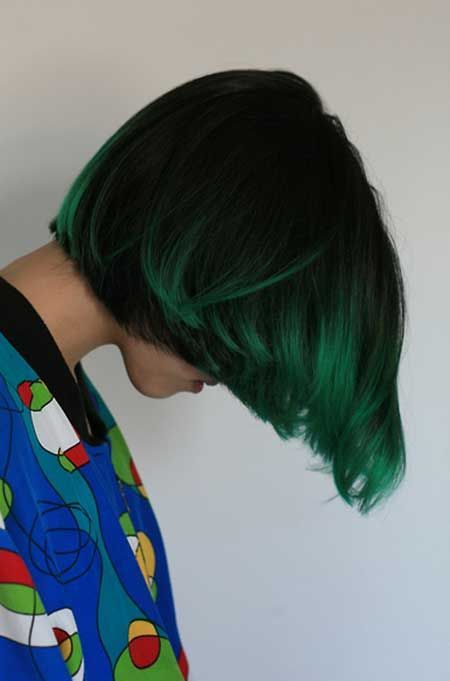 Thick Black Bob With Shamrock Green Ombre Coloring Green