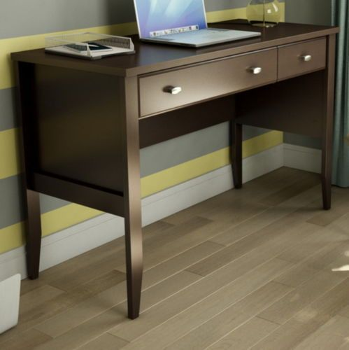 Contemporary Computer Desk With Two Drawers Home Office Furniture Brown Finish