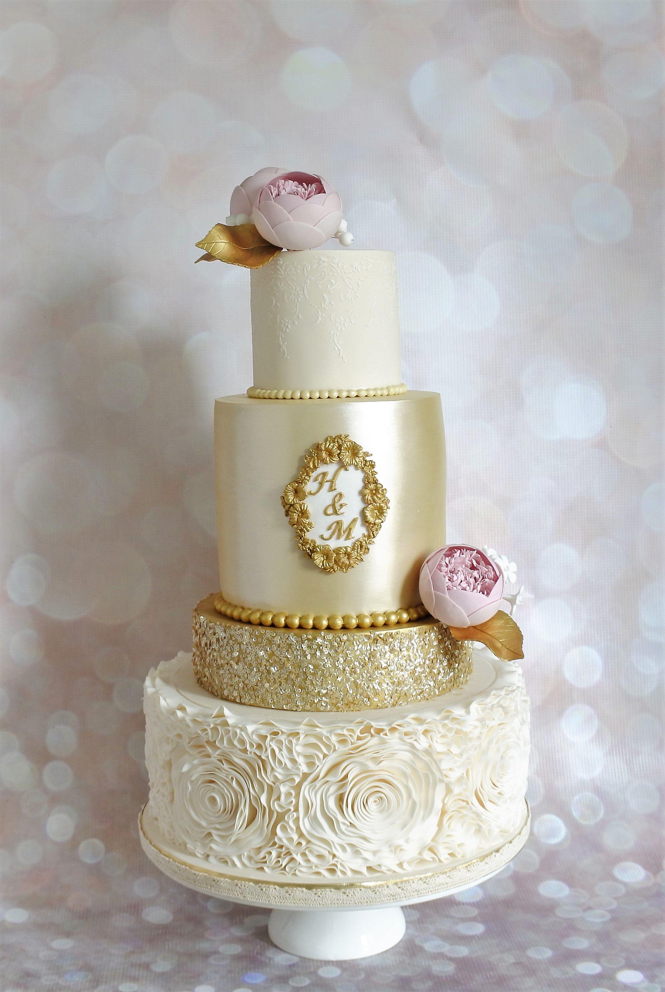 Rose Ruffles, Gold Sequins, Edible Lustre and Blush Pink Sugar ...