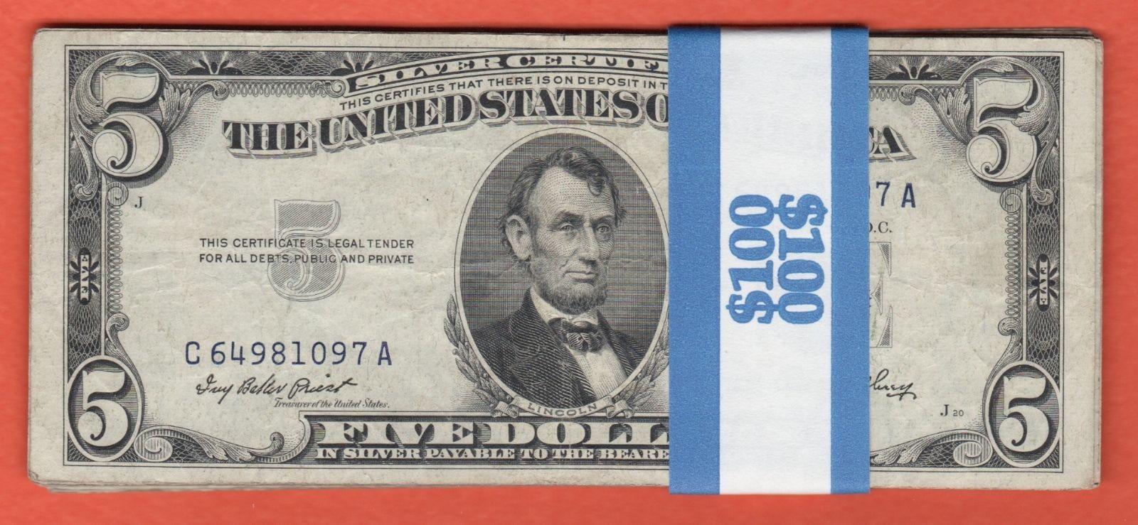 20 1953 Silver Certificate Five Dollar Bills100 Face Value