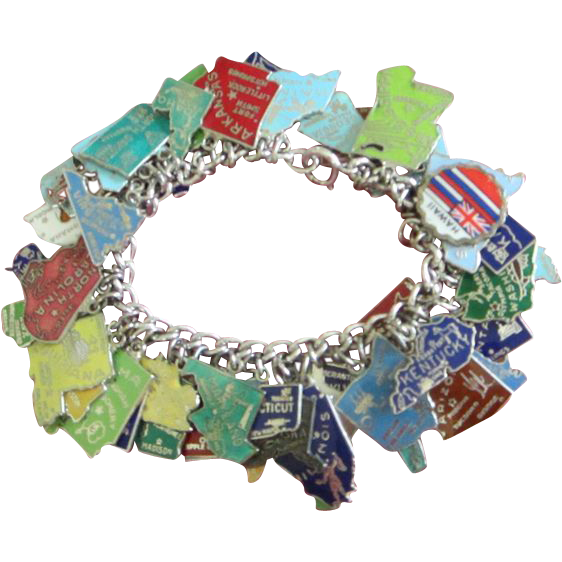 d54394572c76a Sterling Silver and Enamel 50 State Charms Bracelet, 52 Charms Total ...