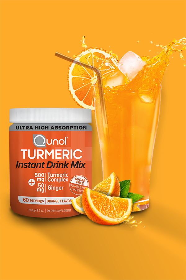 Qunol Turmeric Instant Drink Mix 500mg 50mg Ginger 60 Servings Turmeric Benefits Fruit Health Benefits Mixed Drinks