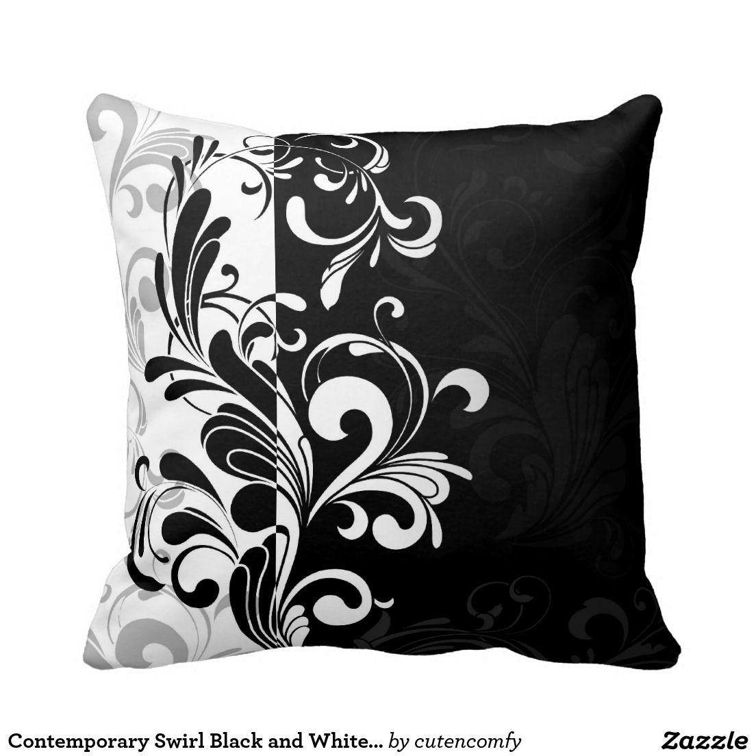 Contemporary swirl black and white throw cushion throw pillows