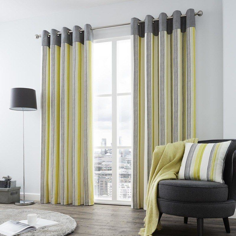 Rydell Stripe Ready Made Eyelet Curtains Lime Stripe Curtains