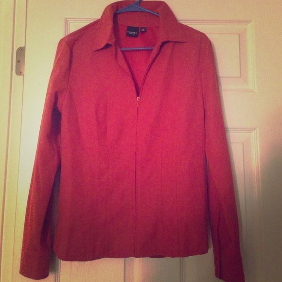 Medium 100% polyester jacket Rustic orange jacket with zip front and collar. Perfect for dressing up. Jackets & Coats
