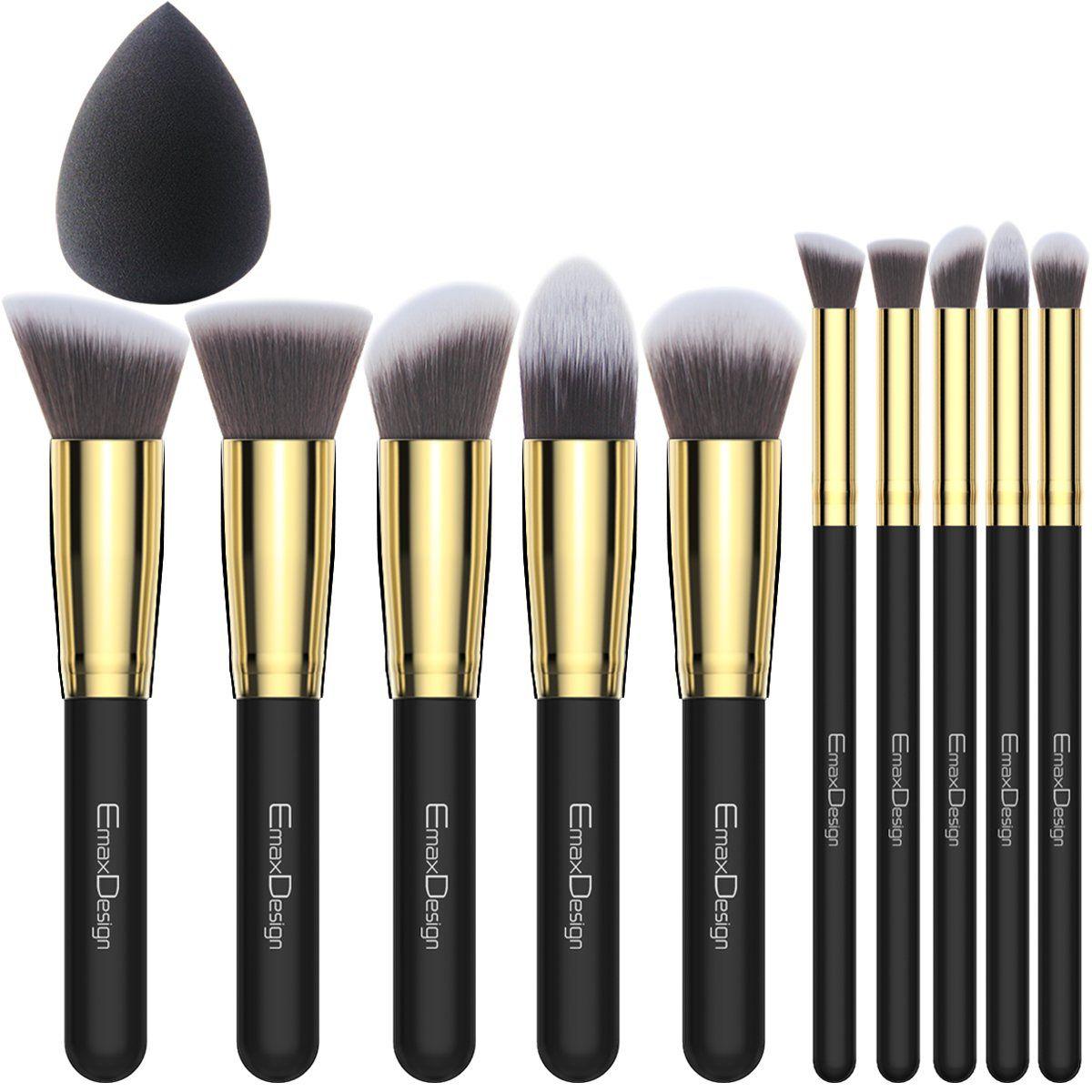 EmaxDesign 10 1 Pieces Makeup Brush Set, 10 Pieces