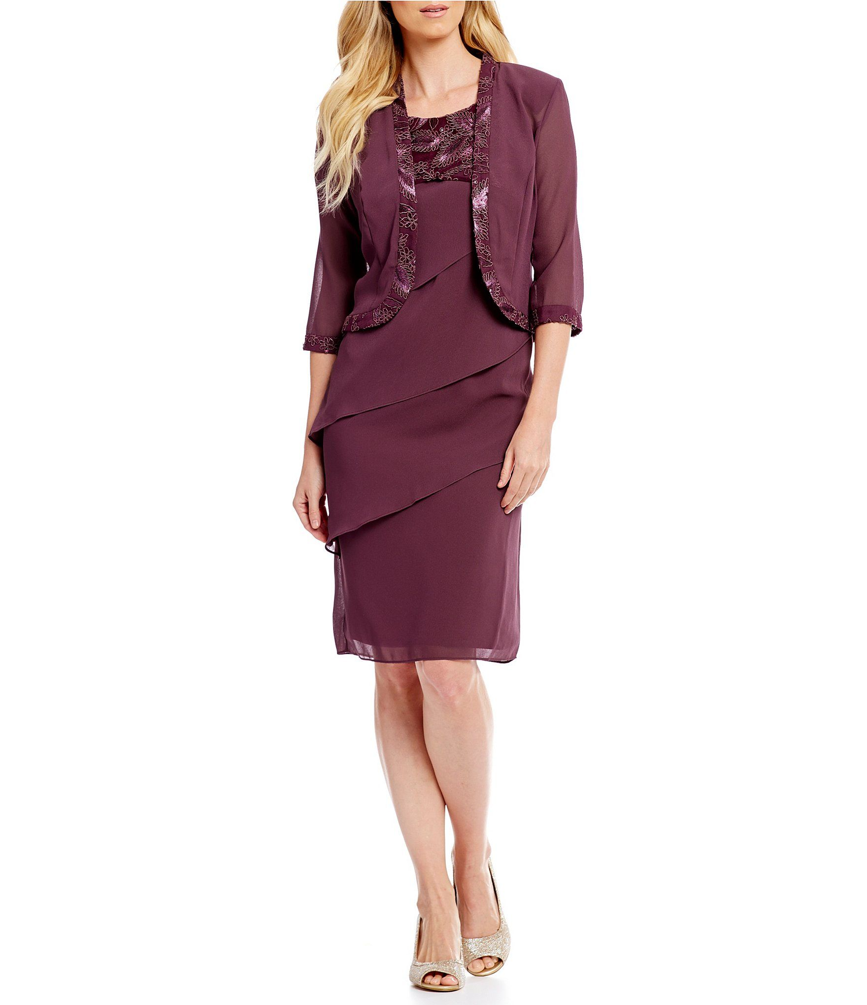 70170f7a974 Le Bos Embroidered Asymmetrical Tiered Jacket Dress  Dillards ...