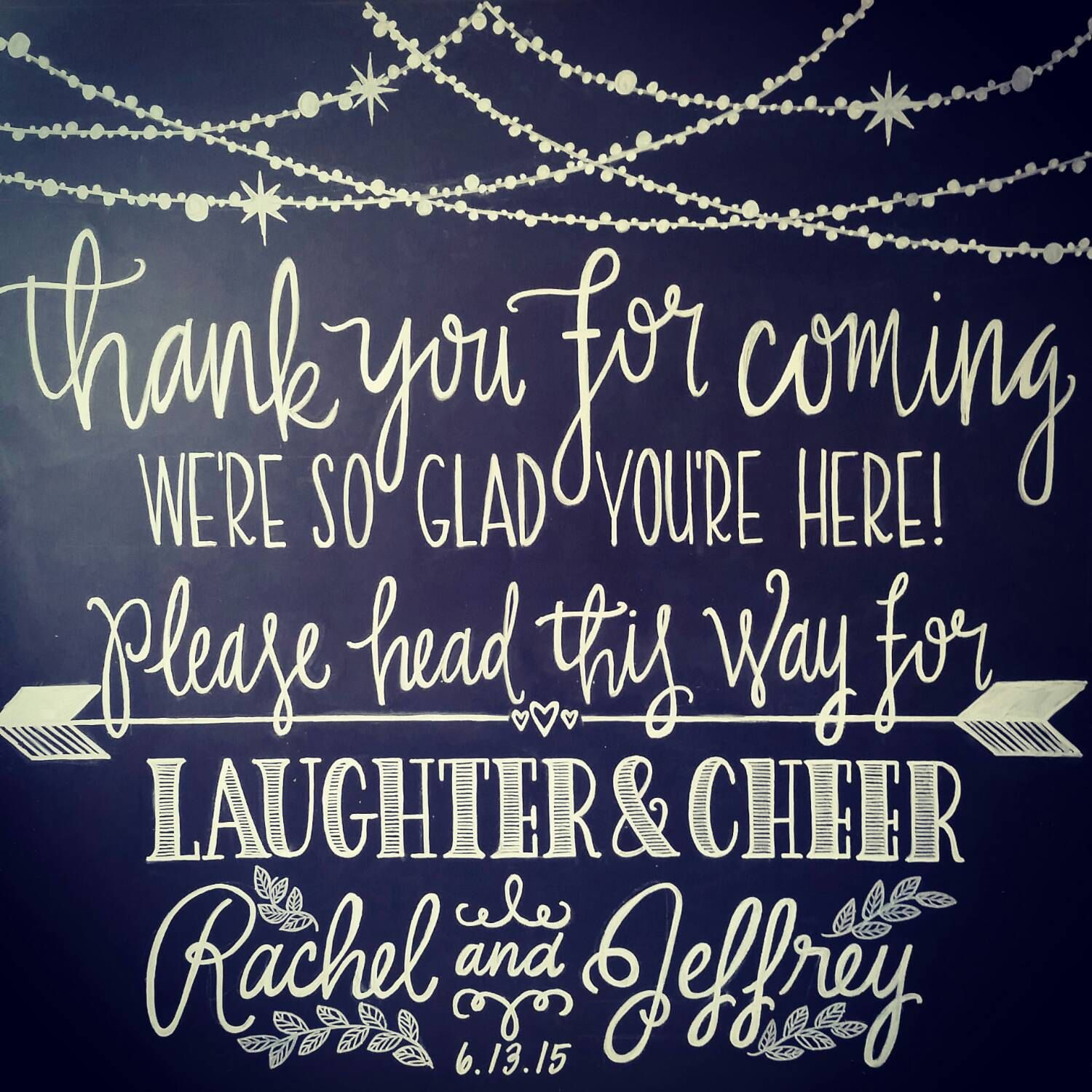 """Wedding Welcome Sign: """"Thank You For Coming, We're So Glad"""