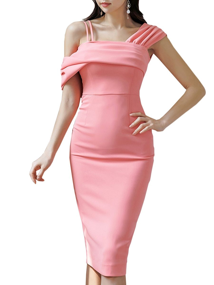 8ce67ca9 Buy Women's Sheath Dress Solid Color Skew Collar Ruffles One Shoulder Dress  & Regular Dresses - at Jolly Chic